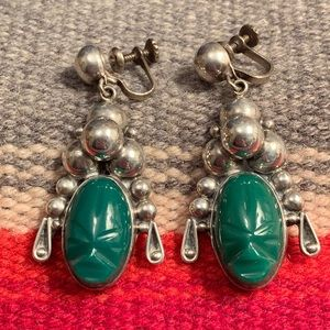 VTG Aztec Warrior Green Onyx & Sterling Earrings
